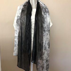 Calvin Klein Black Silver White metallic scarf